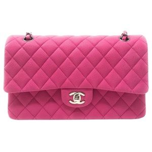 Chanel Double Flap Hot Pink Matte Caviar Leather